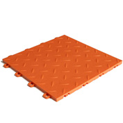 Block Tile B1US4927 Garage Flooring Interlocking Tiles, Diamond Pattern, Orange
