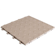 Block Tile B1US5127 Garage Flooring Interlocking Tiles, Diamond Pattern, Beige
