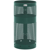 "Pole/Wall Mount Receptacle, Green, 10 gal, 12""Dia x 24""H"