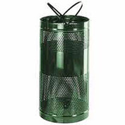 "Free-Standing Receptacle, Green, 34 gallon capacity, 18""Dia x 35""H"