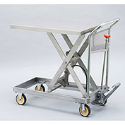 "HAMACO Stainless Steel Mobile Scissor Lift Table HLH-150SUS - 28-5/16""L x 15-11/16""W - 330 Lb. Cap."