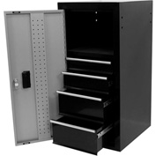 "4-Drawer Side Locker, 18""W x 16""D x 34""H, Gray/Black"