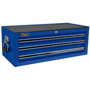 "Homak 27"" PROFESSIONAL Black 3 Drawer Mid Chest - Blue"