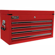 """Homak 27"""" PROFESSIONAL Black 4 Drawer Top Chest - Red"""