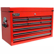 """Homak 27"""" PROFESSIONAL Black 9 Drawer Top Chest - Red"""