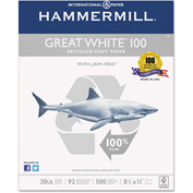 Recycled Copy Paper - Hammermill HAM86790 - White - 8-1/2 x 11 - 20 lb. - 5000 Sheets/Carton