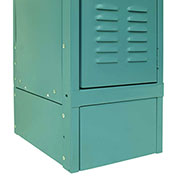 "Hallowell KCFB12 Steel Locker Accessory, Closed Front Base12""Wx6""H Green Mist"