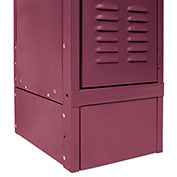 "Hallowell KCFB12 Steel Locker Accessory, Closed Front Base12""Wx6""H Maroon"