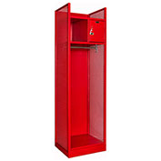 Hallowell TGBN42(84)-1BC-G-RR-HT Turnout Gear Locker with Security Box 25x22x86 Assembled Relay Red