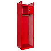 Hallowell TGBN42(84)-1C-G-RR-HT Turnout Gear Locker with Security Box 25x22x84 Assembled Relay Red