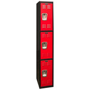 Hallowell U1282-3MR Black Tie Locker Triple Tier 12x18x24 3 Doors Unassembled, Black/Red