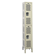 Hallowell U1818-2HV-A Heavy-Duty Ventilated Locker Double Tier 18x21x36 2 Doors Assembled Parchment