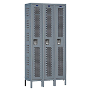 Hallowell U3258-1HV-A Heavy-Duty Ventilated Locker Single Tier 12x15x72 3 Doors Assembled Gray
