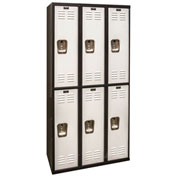Hallowell U3282-2A-MP Black Tie Locker Double Tier 12x18x36 6 Doors Assembled, Black/Light Grey