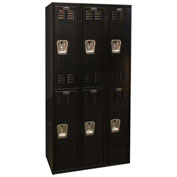Hallowell U3282-2ME Black Tie Locker Double Tier 12x18x36 6 Doors Unassembled, Black
