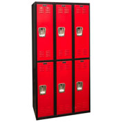 Hallowell U3282-2MR Black Tie Locker Double Tier 12x18x36 6 Doors Unassembled, Black/Red