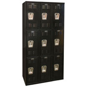 Hallowell U3282-3A-ME Black Tie Locker Triple Tier 12xx18x24 9 Doors Assembled, Black