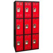 Hallowell U3282-3A-MR Black Tie Locker Triple Tier 12xx18x24 9 Doors Assembled, Black/Red