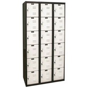 Hallowell U3282-6A-MP Black Tie Locker Six Tier 12x18x12 18 Doors Assembled, Black/Light Grey