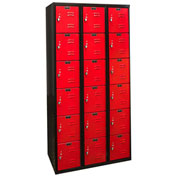 Hallowell U3282-6MR Black Tie Locker Six Tier 12x18x12 18 Doors Unassembled, Black/Red