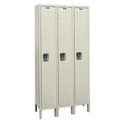 Hallowell U3518-1 Premium Locker Single Tier 15x21x72 3 Doors Ready To Assemble Parchment