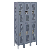 Hallowell U3558-2HDV Heavy-Duty Ventilated Locker Double Tier 15x15x36 6 Doors Unassembled Gray