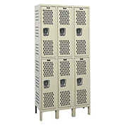 Hallowell U3558-2HV-A Heavy-Duty Ventilated Locker Double Tier 15x15x36 6 Doors Assembled Parchment