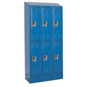 Hallowell URB3228-2ASB-MB Ready-Built II Locker Double Tier 3 Wide - 12x12x41 Blue