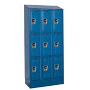 Hallowell URB3228-3ASB-MB Ready-Built II Locker Triple Tier 3 Wide - 12x12x27-5/16 Blue
