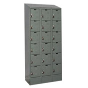Hallowell URB3258-6ASB-HG Ready-Built II Locker Six Tier 3 Wide - 12x15x13-13/15 Gray