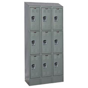 Hallowell URB3288-3ASB-HG Ready-Built II Locker Triple Tier 3 Wide - 12x18x28 Gray