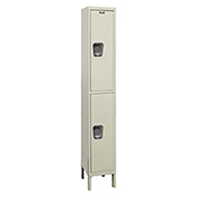 Hallowell UY1548-2A Maintenance-Free Quiet Locker Double Tier 15x24x36 2 Doors Assembled Parchment