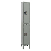 Hallowell UY1558-2 Maintenance-Free Quiet Locker Double Tier15x15x36 2 Doors Unassembled Gray