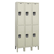 Hallowell UY3548-2A Maintenance-Free Quiet Locker Double Tier 15x24x36 6 Doors Assembled Parchment