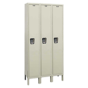 Hallowell UY3558-1A Maintenance-Free Quiet Locker Single Tier 15x15x72 3 Doors Assembled Parchment