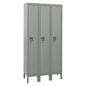 Hallowell UY3558-1 Maintenance-Free Quiet Locker Single Tier15x15x72 3 Doors Unassembled Gray