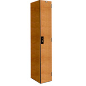 Hallowell PHL1282-1A-FA VersaMax Phenolic Locker 12x18x72 Single Tier, 1 Wide, Annigre, Padlock Hasp