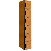 Hallowell PHL1282-6A-K-FA VersaMax Phenolic Locker 12x18x12, Six Tier, 1 Wide, Annigre, Key Cam Lock