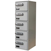 Hallowell UCTL192(30)-5A Tablet/Cell Phone Locker, 9x12x30-1/2, 5 Door-1 Wide, Digitech Locks, Gray