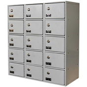 Hallowell UCTL392(30)-5A-K-PL Tablet/Cell Phone Locker 27x12x30-1/2 15 Door-3 Wide, w/Key Locks Gray