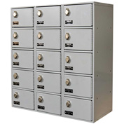 Hallowell UCTL392(30)-5A-PL Tablet/Cell Phone Locker 27x12x30-1/2, 15 Door-3 Wide Padlock Hasp, Gray