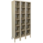 Hallowell UESVP3258 Safety-View Plus Locker w/DigiTech Lock 12x15x12 6 Tier 3W ParchmentUnassembled