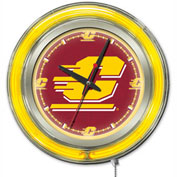 "Central Michigan University Double Neon Ring 15"" Dia. Logo Clock"