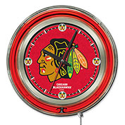 "Chicago Blackhawks® Double Neon Ring 15"" Dia. Logo Clock"