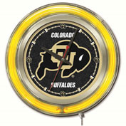"University of Colorado Double Neon Ring 15"" Dia. Logo Clock"