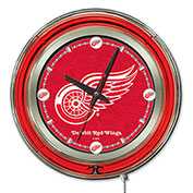 """Detroit Red Wings® Double Neon Ring 15"""" Dia. Logo Clock"""