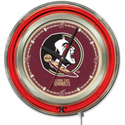 "Florida State ""Head"" Double Neon Ring 15"" Dia. Logo Clock"