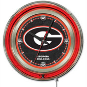 "University of Georgia Script ""G"" Double Neon Ring 15"" Dia. Logo Clock"