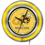 "Georgia Tech Double Neon Ring 15"" Dia. Logo Clock"