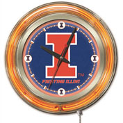 "University of Illinois Double Neon Ring 15"" Dia. Logo Clock"